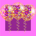 Transparent balloons with spangles, confetti and streamers