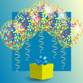 Transparent balloons with spangles, confetti and streamers and gift box.
