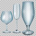 Transparent blue empty glass goblets for cognac champagne and b three beer Stock Photos