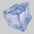Transparent blue ice cube