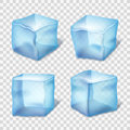 Transparent blue ice cubes in plaid background. Vector illustration Royalty Free Stock Photo