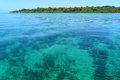Transparent and calm waters in the caribbean sea with solarte island in background bocas del toro panama Stock Photo