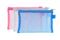 Transparent clear net bags in blue white pink isolated on white Royalty Free Stock Photo