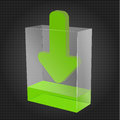 Transparent download box with green liquid and arrow representing content Royalty Free Stock Image