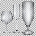 Transparent empty glass goblets for cognac champagne and beer three Royalty Free Stock Images