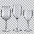 Transparent empty glass goblets for wine three Royalty Free Stock Photos