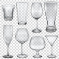 Transparent empty glasses and stemware for different drinks Stock Image