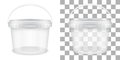 Transparent empty plastic bucket for storage of food or non-food