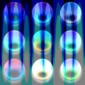 Transparent glass bubbles on abstract blue background Royalty Free Stock Photo