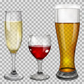 Transparent glass goblets with drinks three wine champagne and beer on checkered background Stock Image