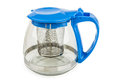 Transparent glass teapot with metal strainer isolated on white background Stock Photo