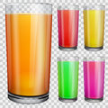 Transparent glasses with opaque colored juice set of on checkered background Royalty Free Stock Photo