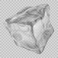 Transparent gray ice cube