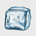 Transparent ice cube in blue colors Royalty Free Stock Photo