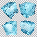 Transparent ice cubes set of four in light blue colors Royalty Free Stock Photos