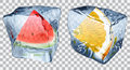 Transparent ice cubes with slices of watermelon and orange Royalty Free Stock Photo