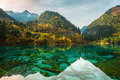 Transparent lakes jiuzhaigou park snow tops of mountains autumn paints of wood and Royalty Free Stock Photo