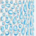 Transparent light blue drops flowing along a cylindrical surface