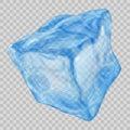 Transparent light blue ice cube