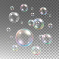 Transparent multicolored soap bubbles vector set Royalty Free Stock Photo