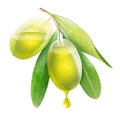 Transparent olives with oil inside isolated on white Stock Photo