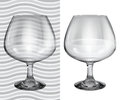 Transparent and opaque realistic brandy glasses empty Royalty Free Stock Photo