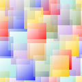 Transparent overlapping square design in pastel rainbow colors on white background.