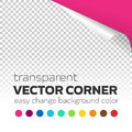 Transparent paper page curl corner with colored background Royalty Free Stock Photo