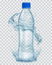 Transparent plastic bottle with water crown and splashes in gray