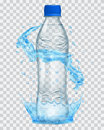 Transparent plastic bottle with water crown and splashes