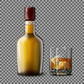 Transparent realistic Vector bottle and glass with smokey Scotch Whiskey, ice .