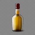 Transparent realistic vector bottle with smokey scotch whiskey and ice glass drink for every background Stock Photography