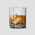 Transparent realistic Vector glass with smokey Scotch Whiskey and ice .