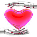 Transparent red heart in silver hands Stock Photos