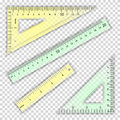 Transparent Ruler And Triangles Vector. Centimeter And Inch. Measure Tool Equipment Illustration. Several Instruments
