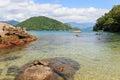 Transparent sea and stones near beach Cotia on island near Parat Royalty Free Stock Photo