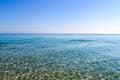 Transparent sea water shimmers in the sunlight. Greece, Halkidiki, Kassandra