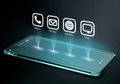 Transparent smartphone with apps on three dimensional screen Royalty Free Stock Photo