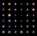 transparent star vector symbol icon design. Beautiful illustration of glowing light effect stars bursts with sparkles on