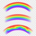 Transparent vector rainbow on background. Set of rainbows in arch shape. Fantasy concept, symbol of nature