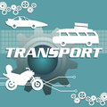 Transport abstract colorful illustration with car silhouettes and the text written with white capital letters in the middle of the Royalty Free Stock Photo