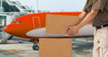 Transport air parcel delivery service cargo aircraft for Royalty Free Stock Photo