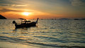 Transport boat at sunset in koh lipe thailand Stock Image