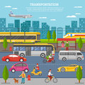 Transport In City Poster Royalty Free Stock Photo