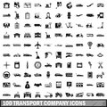100 transport company icons set, simple style Royalty Free Stock Photo