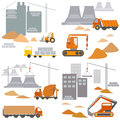 Transport and construction, construction site, vector set