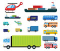 Transport delivery vector isolated white transportation car bus van fire truck helicopter ship silhouette icon tanker Royalty Free Stock Photo