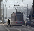 Transport en commun - tramway - Cracovie - la Pologne Photo libre de droits