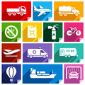 Transport flat icon bright color icons with shadow stickers square shapes colors set Stock Photography