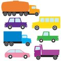 Transport icon set collection of colorful truck and car icons Stock Photo